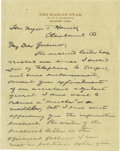 """Autographs:U.S. Presidents, Warren G. Harding Autograph Letter Signed """"W. G. Harding""""and, in a postscript """"W.G.H.,"""" two pages, 5.5"""" x 7"""",separ..."""