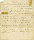 "Western Expansion:Indian Artifacts, (Penobscot Indians) Manuscript Document Signed. One page, 7.75"" ´9.25"", Boston, August 29, 1797 a receipt for a quantity of..."