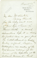 "Autographs:Celebrities, Andrew Carnegie Autograph Letter Signed in full, ""AndrewCarnegie"" and initialed, ""A C"". Two pages, 5"" x 8"", on BonarBr..."