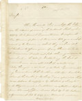 "Autographs:Statesmen, Thomas Fitzsimons Autograph Letter Signed, ""ThosFitzsimons"". Two pages, 8.25"" x 9.75"", Philadelphia, September,2, 1789..."
