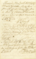 """Autographs:Statesmen, Declaration of Independence Signer William Floyd DS, """"WmFloyd"""", two pages, 4.5"""" x 7.25"""", New York City, October 3,1787..."""