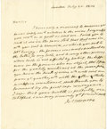 "Autographs:U.S. Presidents, James Monroe as Minister to Great Britain Autograph Letter Signed,""Jas. Monroe"", one page with verso address panel, 7.2..."