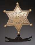 """Western Expansion:Cowboy, A 'US DEPUTY MARSHAL' BADGE - SIX-POINTED STAR MADE OF COPPER -This six-pointed Deputy US Marshal badge measures 2 1/2"""" tal..."""