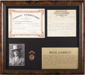 "Western Expansion:Cowboy, BUCK GARRETT'S ""GOLD"" CHIEF OF POLICE BADGE, ARDMORE, INDIAN TERRITORY CIRCA 1900 - Buck Garrett was a noted lawman and gunf..."