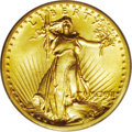 High Relief Double Eagles: , 1907 $20 High Relief, Wire Rim MS64 PCGS. Bright yellow-gold and highly lustrous in the fields. The strike is bold indeed, ...