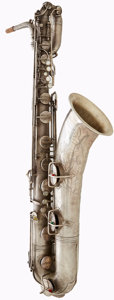 Musical Instruments:Horns & Wind Instruments, 1916 C.G. Conn Silver Baritone Saxophone, Serial # 334714....