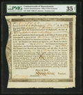 Colonial Notes:Massachusetts, Massachusetts Interest Due Treasury Certificate £12.1s May 1, 1783Anderson MA-34 PMG Choice Very Fine 35 Net.. ...