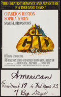 "Movie Posters:Adventure, El Cid (Allied Artists, 1961). Window Card (14"" X 22""). Adventure....."
