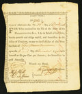 Colonial Notes:Massachusetts, Massachusetts Treasury Certificate £10 December 30, 1776 Anderson MA-4 Very Fine.. ...