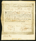 Colonial Notes:Massachusetts, Massachusetts Treasury Certificate £36.12s Dec. 1, 1777 Very Fine.....