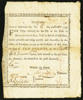 Colonial Notes:Massachusetts, Massachusetts Treasury Certificate £10 February 21, 1777 AndersonMA-6 Extremely Fine.. ...