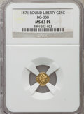 California Fractional Gold: , 1871 25C Liberty Round 25 Cents, BG-838, R.2, MS63 Prooflike NGC.NGC Census: (14/9). ...