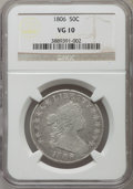 Early Half Dollars: , 1806 50C Pointed 6, Stem, VG10 NGC. NGC Census: (42/887). PCGSPopulation (59/1060). Mintage: 839,576. Numismedia Wsl. Pric...