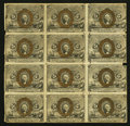 Fractional Currency:Second Issue, Fr. 1232 5c Second Issue Uncut Block of Twelve Good.. ...