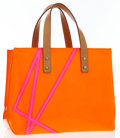 Luxury Accessories:Bags, Louis Vuitton Limited Edition Orange Monogram Vernis Leather ReadePM Tote Bag by Robert Wilson . Very Good Condition . ...