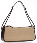 Luxury Accessories:Bags, Gucci Brown Leather & Beige Canvas Shoulder Bag. ...