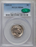 1931-S 5C MS66 PCGS. CAC. PCGS Population: (563/12). NGC Census: (72/2). CDN: $440 Whsle. Bid for problem-free NGC/PCGS...