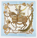 "Luxury Accessories:Accessories, Hermes 90cm White & Blue ""Le Timbalier,"" by Françoise HeronSilk Scarf. ..."