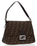Luxury Accessories:Bags, Fendi Classic Zucca Monogram Canvas Mama Baguette Bag. ...