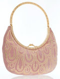 Luxury Accessories:Bags, Valentino Pink Suede Evening Bag. ...