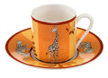 Luxury Accessories:Home, Hermes Orange, Burgundy & Yellow Africa Limoges PorcelainEspresso Cup and Saucer. ...