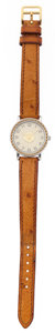 Luxury Accessories:Accessories, Hermes Gold Plated Steel & Stainless Steel Sellier Watch withCognac Ostrich Strap. ...