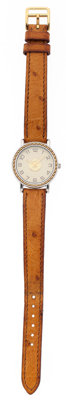 Hermes Gold Plated Steel & Stainless Steel Sellier Watch with Cognac Ostrich Strap