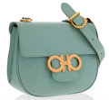 Luxury Accessories:Accessories, Salvatore Ferragamo Green Leather Shoulder Bag with Gold Hardware....