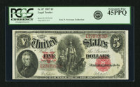 Fr. 87 $5 1907 Legal Tender PCGS Extremely Fine 45PPQ
