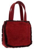 Luxury Accessories:Bags, Chanel Red Suede & Burgundy Shearling Tote Bag. ...