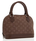 Luxury Accessories:Bags, Louis Vuitton Taupe Monogram Satin Mini Alma Bag . ...