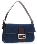 Luxury Accessories:Bags, Fendi Blue Denim Baguette Bag with Silver Hardware . ...