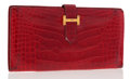 Luxury Accessories:Accessories, Hermes Shiny Braise Alligator Bearn Wallet with Gold Hardware. ...