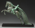 Sculpture, ART DECO STYLE BRONZED METAL FEMALE NUDE ON HORSE BY C. CHARLES. Mid-20th Century. 19 inches (50.8 cm) high on a 1 inch (2.5...