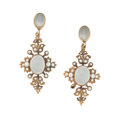 Estate Jewelry:Earrings, Moonstone, Seed Pearl, Gold Earrings. ...