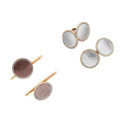 Estate Jewelry:Cufflinks, Gentleman's Mother-of-Pearl, Gold Dress Set. ... (Total: 2 Items)