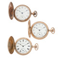Timepieces:Pocket (post 1900), Three Waltham Hunter's Case Pocket Watches Runners. ... (Total: 3Items)