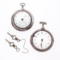 Timepieces:Pocket (pre 1900) , Two Silver Pair Case Lever Fusee Pocket Watches For Parts OrRepair. ... (Total: 2 Items)