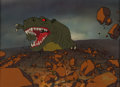 Animation Art:Production Cel, The Land Before Time Sharptooth Production Cel Setup withBackground (Sullivan Bluth/Amblin, 1988).. ...
