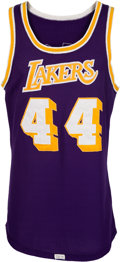 Basketball Collectibles:Uniforms, 1973-74 Jerry West Game Worn Los Angeles Lakers Jersey, MEARSA10....