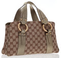 Luxury Accessories:Bags, Gucci Green Metallic Leather & Classic Monogram Canvas Tote Bagwith Gold Bamboo Hardware. ...