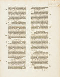 Books:Prints & Leaves, [Early Printing]. Large Original Printed Leaf. [N.p., n.d, Circa17th Century]. Text in French. Measures approximately 15 x ...