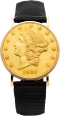 Timepieces:Wristwatch, Eska $20 Gold Coin Wristwatch, circa 1970's. ...