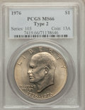 Eisenhower Dollars: , 1976 $1 Type Two MS66 PCGS. PCGS Population (450/9). NGC Census: (351/3). Mintage: 113,318,000. Numismedia Wsl. Price for p...
