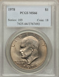 Eisenhower Dollars: , 1978 $1 MS66 PCGS. PCGS Population (364/5). NGC Census: (148/5). Mintage: 25,702,000. Numismedia Wsl. Price for problem fre...