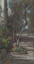 Fine Art - Work on Paper:Drawing, ELIHU VEDDER (American, 1836-1923). Capri Garden. Pastel onpaper. 11-1/2 x 6-3/4 inches (29.2 x 17.1 cm) (sheet). Signe...