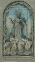 Fine Art - Work on Paper:Drawing, ELIHU VEDDER (American, 1836-1923). Sketch of Minerva.Pencil and chalk on paper. 5-3/8 x 9-1/2 inches (13.7 x 24.1 cm)...