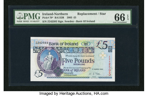 World Currency Northern Ireland Bank Of 5 1 3 2003 Pick 79
