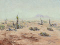 "Fine Art - Painting, American:Modern  (1900 1949)  , HAROLD EDGAR ""H. E."" WENCK (American, Early 20th Century).Desert Landscape, Yucca Mountain, 1932. Oil on canvas. 12 x1..."