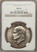 Eisenhower Dollars: , 1976-D $1 Type One MS66 NGC. NGC Census: (254/7). PCGS Population (270/6). Mintage: 21,048,710. Numismedia Wsl. Price for p...